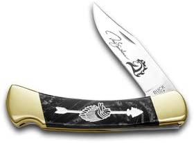 Yellowhorse Buck 110 Custom Black Pearl Corelon Chief Arrowhead 1 250 Pocket Knife