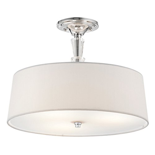 Kichler Lighting 42035CH Crystal Persuasion 3-Light Semi-Flush in Chrome - Monte Carlo Semi Flush