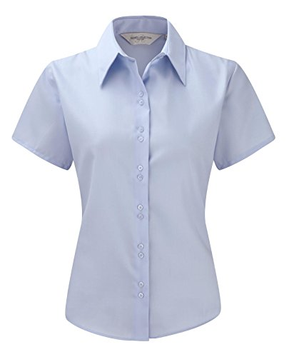 Russell Collection Ladies Short Sleeve Ultimate Non-Iron Shirt M/12 Bright Sky