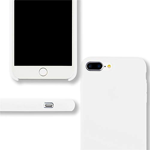 Yajuhoy iPhone 8 Plus Case / iPhone 7 Plus Case, Liquid Silicone Gel Rubber Case Soft Microfiber Cloth Lining Cushion Compatible with Apple iPhone 8 Plus (2017) / iPhone 7 Plus (2016) - White