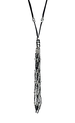 SPUNKYsoul New! Leather Tassel Necklace in Brown, Black, Gold & Silver Collection (Black & Silver)