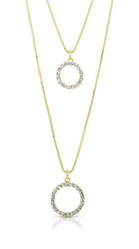 SGS International Gold Plated Swarovski Elements Double Strand Circle Necklace