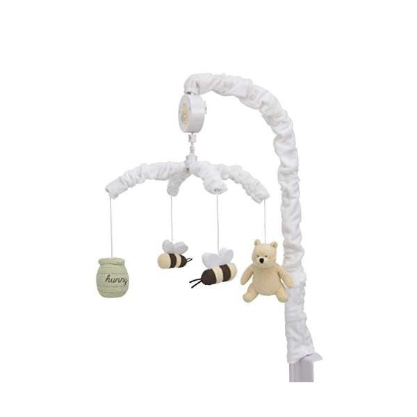 Disney Winnie The Pooh Classic Pooh Ivory, Sage, Butter Musical Mobile with Hunny Pot and Bees, Ivory, Sage, Butter, Brown