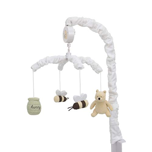 (Disney Winnie The Pooh Classic Pooh Ivory, Sage, Butter Musical Mobile with Hunny Pot and Bees, Ivory, Sage, Butter, Brown )