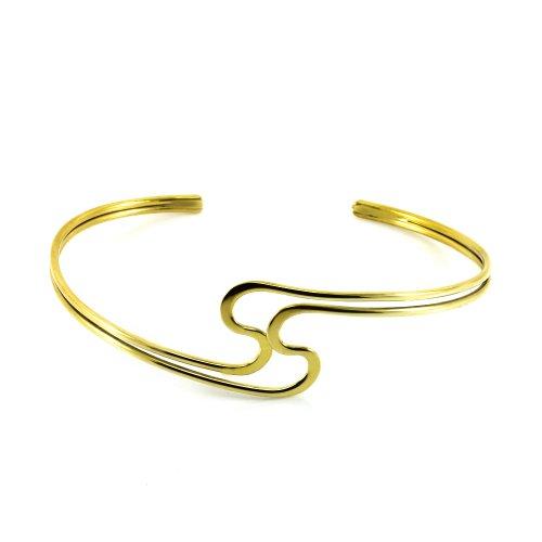 Mgd, 28mm de large SS Forme Tour de Bras réglable haut du bras Bracelet, Doré Laiton, taille unique, bijoux tendance pour femme, Je-0117m