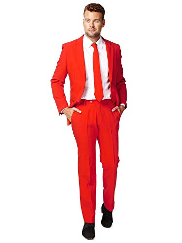 OppoSuits Men's Red Devil Party Costume Suit, Red, 38