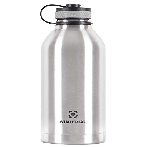- Winterial 64 Oz Insulated Water Bottle Wide Mouth Beer Growler (Stainless Steel)