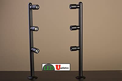 2 showcase display LED spot Light black pole style FY-53 set with UL listed 12v 2A power supply