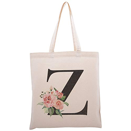 Personalized Floral Initial Cotton Canvas Tote Bag for Events Bachelorette Party Baby Shower Bridal Shower Bridesmaid Christmas Gift Bag Initial Z