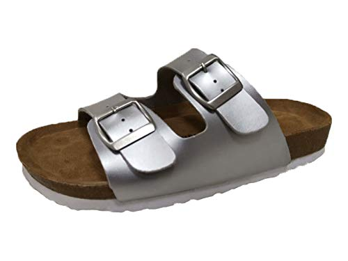 (CUSHIONAIRE Women's Lane Cork Footbed Sandal with +Comfort, Silver,6)