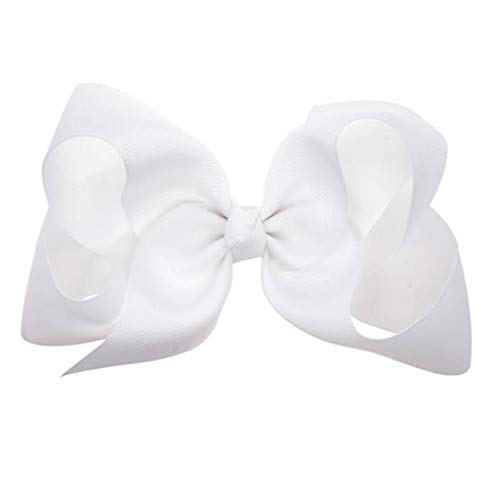 (Hair Clips Boutique Hair Bows Alligator Clip for Women Girl Hairpin 6 Inch TSFJ02 (White))