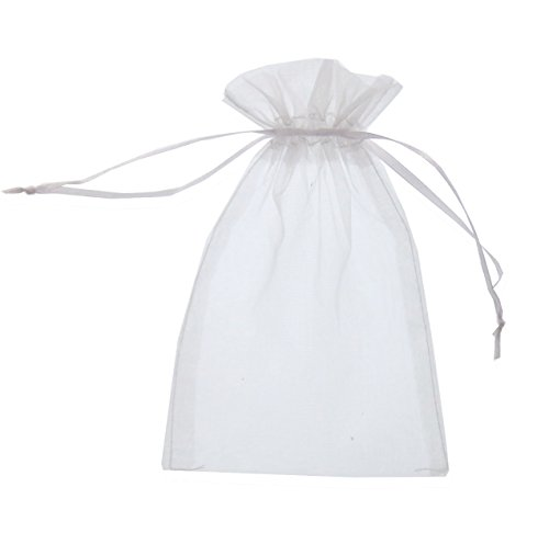 (SumDirect 100Pcs 5x7 inches Sheer Drawstring Organza Jewelry Pouches Wedding Party Christmas Favor Gift Bags (White) )