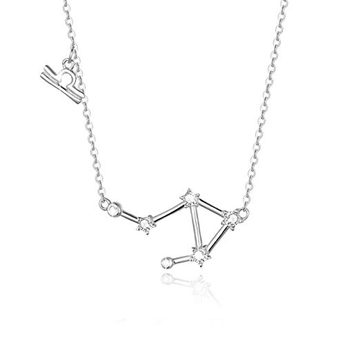 - SIMPLOVE Women's Libra Horoscope Necklace Zodiac Sign Pendant Constellation Necklace Birthday Gift 16.5