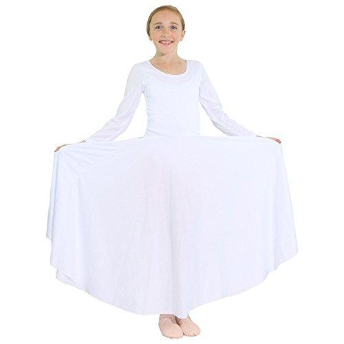 Danzcue Girls Praise Loose Fit Full Length Long Sleeve Dance Dress, White, 6X-7 -