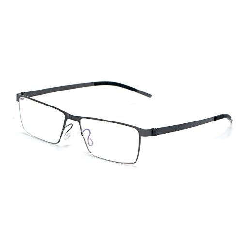 SO SMOOTH WIND B-Titanium Square Ultra Light Eyeglasses Frame Screwless Glasses Frame Prescription Eyewear Frame S1103 (Gun grey, Demo clear - Eyewear Screwless