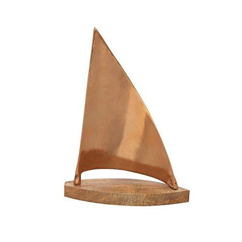 "Deco 79 37988 Aluminum Wood Copper Sailboat Home Decor Product, 13""W/18""H"