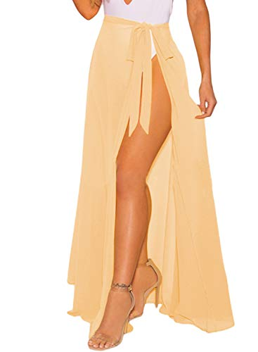 OmicGot Womens Swimwear Cover up Solid Color Beach Sarong Swimsuit Wrap Skirt Apricot Long Plus Size (Swimwear Cover Up Women)