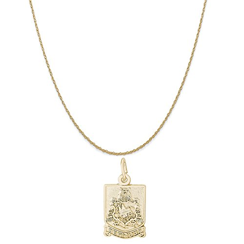Rembrandt Charms 14K Yellow Gold Bermuda Crest Charm on a 14K Yellow Gold Rope Chain Necklace, 20