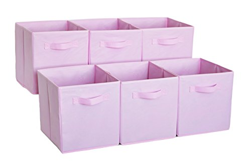 Premium Storage Cube - Fabric Basket Bins - Organize Your Closet, Bedroom & Nursery (Pink Set of 6) (Fabric Storage Trunk)