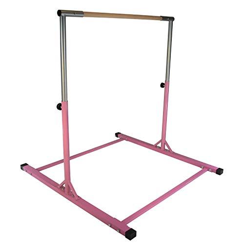- Jungle Kids Pink Senior Junior Heavy Duty Adjustable Horizontal Gymnastics Training Home Gym Pull up Kip High Bar