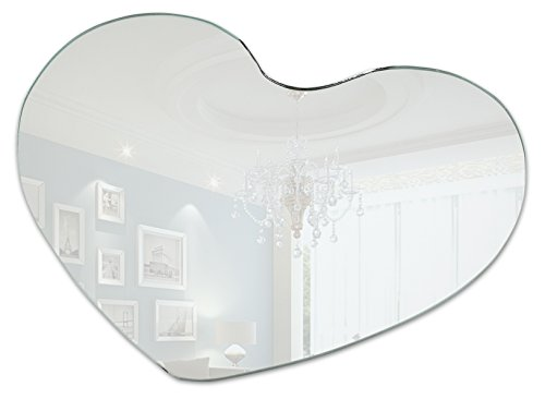 Light In The Dark Heart Mirror Tray Set - Box of 12 Heart Shaped Mirror Plates - 12 inch Mirrors with Round Edge - Use as Table Centerpieces, Candle Plates, Wall Décor -