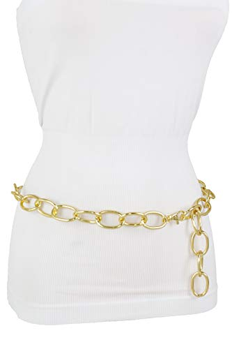 Skinny Hip Belt - TFJ Women Gold Metal Chunky Chain Links Skinny Fashion Belt Hip High Waist Plus XL XXL