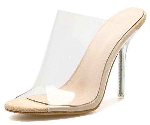 Aisun Women's Sexy Nightclub Peep Toe Slip On Transparent Clear Stiletto High Heel Mule Jelly Slide Sandals (Apricot, 8 B(M) US)