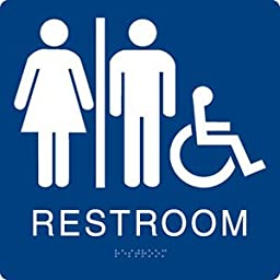 Unisex Accessibility Restroom Sign Blue/White - ADA Compliant - Grade II Braille