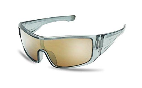 Mens Sport Full Shield Color Mirrored Lens Wrap Around Sunglasses (Transparent - Lock Path Radar