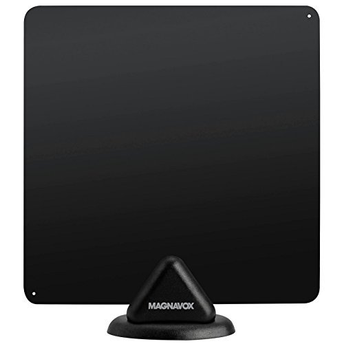 HDTV Antenna Magnavox Indoor Digital Flat Antenna Ultra Thin 40 Mile Range Multi Directional and Reversible Supports VHF and UHF stations 15Ft Cord Black by Magnavox