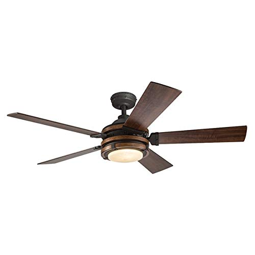 Barrington 52-in Distressed Black and Wood Downrod or Close Mount Indoor Ceiling Fan with Light Kit and Remote (52 Inch, Wood) ()