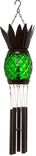 GreenLighting Solar Pineapple Wind Chime Light - Decorative Windbell Lamp for Patio, Garden (Green)