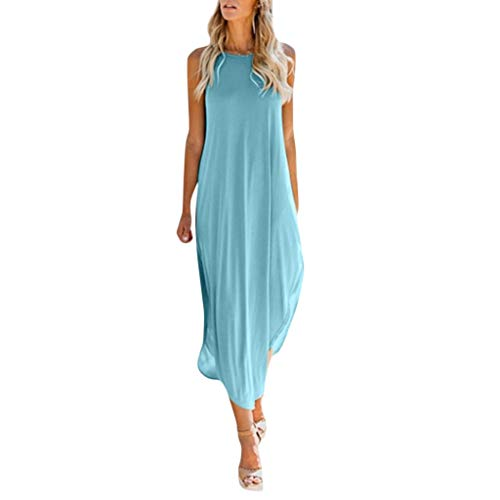 Women Maxi Dress,Casual Solid Color Cami Sleeveless Split Dress Changeshopping Blue