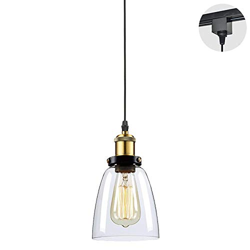 STGLIGHTING 1-Ligh H-Type Track Light Pendants Restaurant Chandelier Glass Lampshade Pendant Light Industrial Factory Pendant Lamp Bulb Not Included