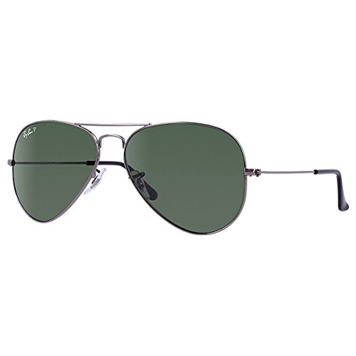 Ray-Ban Mens Aviator Metal Polarized Aviator Sunglasses Grey  Frame 58 mm