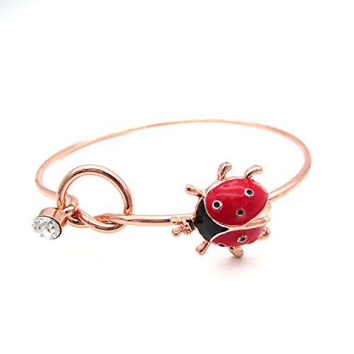 Eternity Bangle - MIXIA Simple Tied Love Knot Bracelet Crystal Red Enamel Ladybug Insect Open Wings Easy Open Charm Cuff Bracelet and Bangle