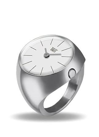 Davis - Ring Watch 2001M – Ringuhr Damen Saphirglas GewÖlbt - Ziffernblatt Weiß Stabzeiger - GrÖße 55