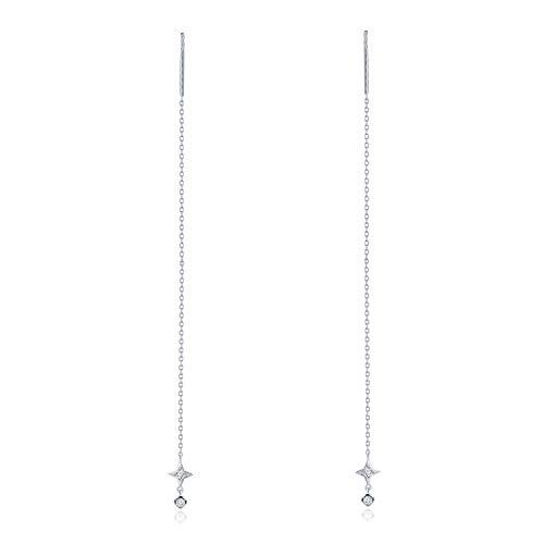 MaBelle 18K White Gold Diamond Cross and Dangling Circle Link String Threader Earrings (0.06ct)