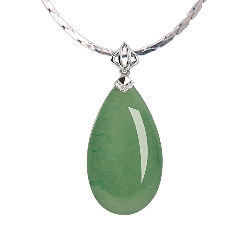 iSTONE Natural Gemstone Green Jade Water Drop 925 Sterling Silver Pendant (Green Jade Gemstone Necklace)
