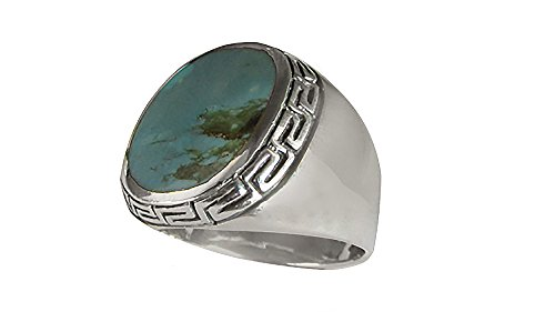 Southwest Sterling Silver 15x17mm Genuine Turquoise Men's Ring (R801-T) (13) (Turquoise Ring Silver Gallery)