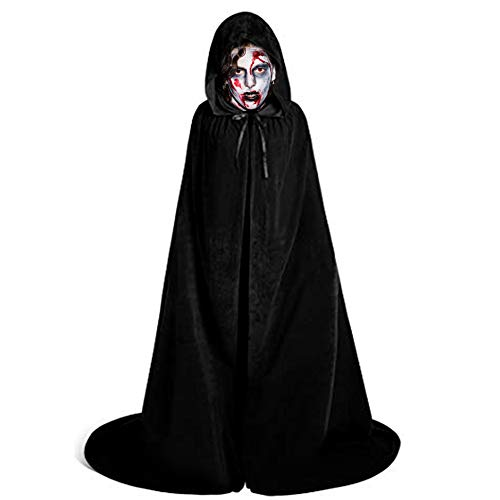 LALIFIT Unisex Velvet Full Length Hooded Robe Cloak Halloween Long Cosplay Costumes Party Cape(Black,XL)
