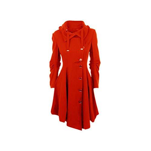 Irregolare Manica Unita Cappuccio Medio Rosso Cappotto Lunga Donna Lungo Capispalla Tinta Con Bottoni Yufaa Da Outwear TqEUII