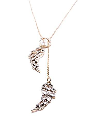 Happiness Boutique Femmes Collier Forme Y avec Ailes Cristales en Or Vintage   Collier avec Pendentif Ailes sans nickel