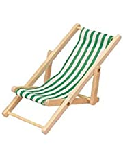 Toy House Furniture Accessories Foldable Miniature Beach Chair Mini Wooden Striped Lawn Deck Chair for Dollhouse Green 1pc