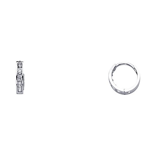 14k White Gold 2mm Thickness CZ Channel Set Hoop Huggie Earrings (10 x 10 mm) (Set Hoop 14k Earring)