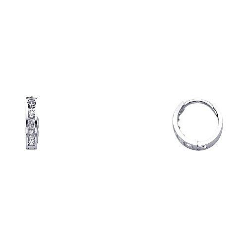 14k White Gold 2mm Thickness CZ Channel Set Hoop Huggie Earrings (10 x 10 mm) 14k Gold Huggies Earrings