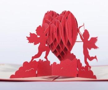 Nicedeal 3D Cupid Heart Popup Card Romantico Hollow Love Biglietto di auguri DIY per San Valentino Festa della mamma Festa di compleanno Regali strumenti art deco di casa per l'ufficio