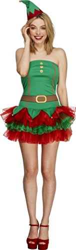Tutu Elf Costume (Smiffy's Adult Women's Fever Elf Costume, Tutu Dress And Hat, Christmas, Fever,)