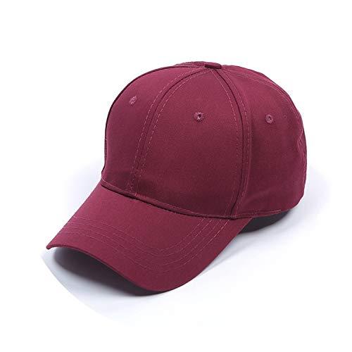 野球帽ソリッドカラー通気性日焼け止めキャップオープンカスタマイズ,ワインレッド,