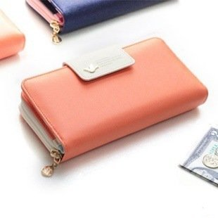 Cremallera Oscuro Tarjetas 2 Con Mujer Naranja Augur Uno Azul Ranuras Otro Múltiples Compartimentos Plegable Completa Monedero Y Para wqaFFxOfv